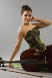 Beautiful woman with cello Royalty Free Stock Image