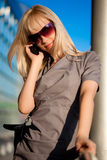 Beautiful woman with cellphone Stock Images