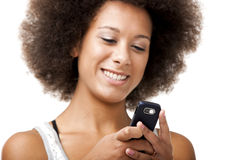 Beautiful woman at cellphone royalty free stock image