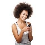 Beautiful woman at cellphone Stock Photo