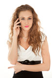 Beautiful woman with cellphone standing Stock Photography