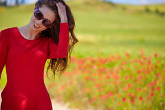 Beautiful woman on cereal field in summer Royalty Free Stock Photo