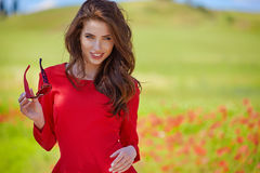 Beautiful woman on cereal field in summer Stock Photography