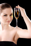 Beautiful woman with champagne glass Royalty Free Stock Photos