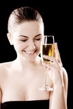 Beautiful woman with champagne glass Stock Image