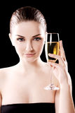 Beautiful woman with champagne glass Royalty Free Stock Photo