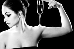 Beautiful woman with champagne glass Stock Photo