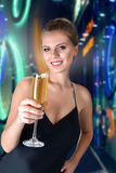 Beautiful woman with champagne Stock Photography