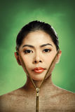 Beautiful woman changing skin, beauty concept Royalty Free Stock Image