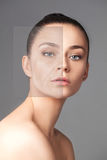 Beautiful woman changing skin beauty concept. Beautiful woman changing skin - the lifting and beauty concept stock photo