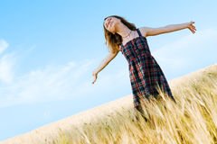 Beautiful woman in checkered dress in a field Royalty Free Stock Photos