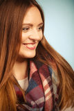 Beautiful woman with checkered scarf. Stock Images