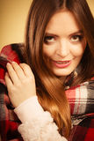 Beautiful woman with checkered scarf. Royalty Free Stock Photography