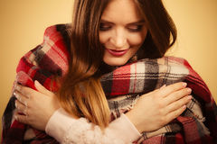 Beautiful woman with checkered scarf. Royalty Free Stock Image