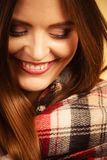 Beautiful woman with checkered scarf. Stock Photo