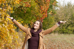 Beautiful woman cheering Royalty Free Stock Photos