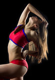 Beautiful woman cheerleader dancer Royalty Free Stock Image