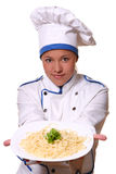 Beautiful woman in chef image Royalty Free Stock Photos