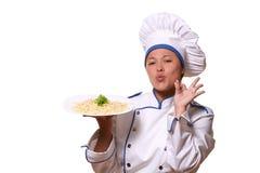 Beautiful woman in chef image Stock Photo