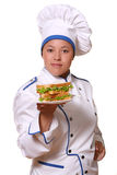 Beautiful woman in chef image royalty free stock photo