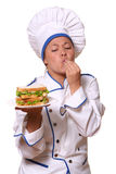 Beautiful woman in chef image Stock Photography