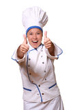 Beautiful woman in chef image Stock Images
