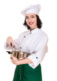 Beautiful woman chef with kitchen Royalty Free Stock Images