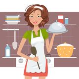 Beautiful woman chef Stock Photo