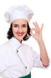 Beautiful woman in chef uniform Stock Photo