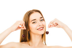 Beautiful woman with cherry isolated on white background. Beautiful woman with cherry isolated Royalty Free Stock Photo