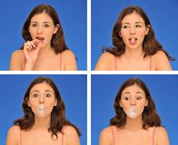 Beautiful woman chewing bubble gum Royalty Free Stock Images