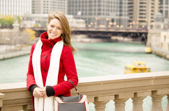Beautiful Woman by Chicago River Royalty Free Stock Images