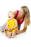 Beautiful woman with a child Stock Photos