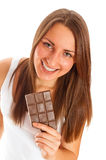 Beautiful woman with chocolate. On white background Royalty Free Stock Images