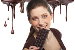 Beautiful woman with a chocolate Royalty Free Stock Photos