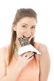 Beautiful woman with a chocolate Stock Photography