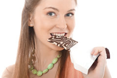 Beautiful woman with a chocolate Royalty Free Stock Photo