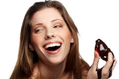 Beautiful woman with a chocolate desert Stock Image