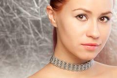 Beautiful woman with choker. Closeup portrait of the beautiful woman with choker stock photos