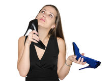 Beautiful Woman Chooses Shoes Royalty Free Stock Photography
