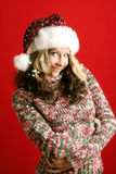 Beautiful woman on christmas Stock Photos