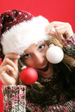Beautiful woman on christmas Royalty Free Stock Photo