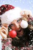 Beautiful woman on christmas Stock Image