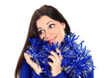 Beautiful woman with christmas balls Stock Photos