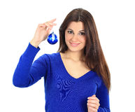 Beautiful woman with christmas balls Stock Image