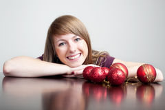 Beautiful woman with christmas bauble Royalty Free Stock Images