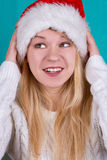 Beautiful woman in Christmas cap Royalty Free Stock Image