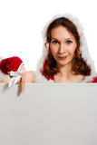 Beautiful woman in Christmas clothing Royalty Free Stock Photos