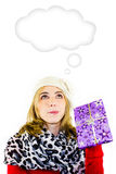 Beautiful woman with a Christmas gift - white background Stock Photography