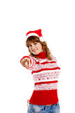 Beautiful woman in christmas hat Royalty Free Stock Photos